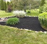 Photo of well mulched garden with a stone outline